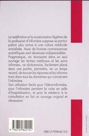 Dictionnaire De L'Infirmiere Termes Medicaux Soins Infirmiers - 4ème de couverture - Format classique