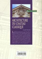Architecture du chateau classique - 4ème de couverture - Format classique