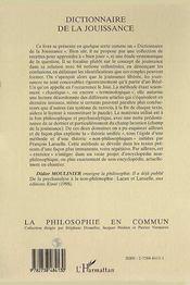 Dictionnaire De La Jouissance - 4ème de couverture - Format classique