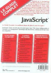Javascript - 4ème de couverture - Format classique