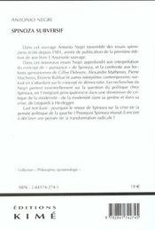 Spinoza Subversif - 4ème de couverture - Format classique