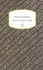 Lettre à la France nègre - Couverture - Format classique