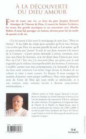 A La Decouverte Du Dieu Amour - 4ème de couverture - Format classique