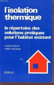L'isolation thermique - Couverture - Format classique