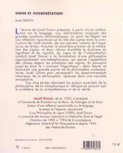 Signe Et Interpretation - 4ème de couverture - Format classique
