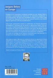 Jacques Delors En Europe - 4ème de couverture - Format classique