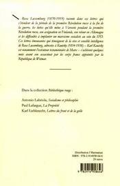 Lettres à karl et luise kautsky - 4ème de couverture - Format classique