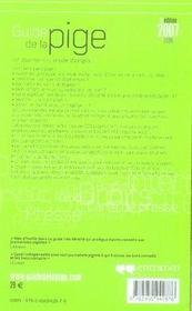 Guide de la pige (édition 2007-2008) - 4ème de couverture - Format classique