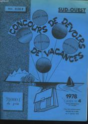 CONCOURS DE DEVOIRS DE VACANCES 1978. CAHIER N°4. COURS ELEMENTAIRE 1e ANNEE. - Couverture - Format classique