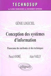 Genie Logiciel Conception Des Systemes D'Information Panorama Des Methodes Et Des Techniques - Intérieur - Format classique