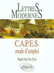Lettres Modernes Capes Mode D'Emploi - Intérieur - Format classique