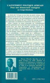 L'ajustement politique africain ; pour une démocratie endogène au Congo-Kinshasa - 4ème de couverture - Format classique