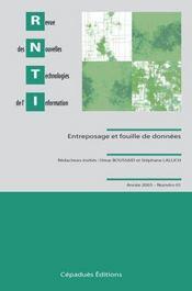 Revue Des Nouvelles Technologies De L'Information T.1 ; Entreposage Et Fouille De Donnees - Intérieur - Format classique