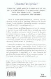 Condamnes A L'Esperance - 4ème de couverture - Format classique