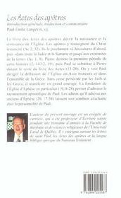 Actes des apotres - intro. gen., traduction et commentaire - 4ème de couverture - Format classique