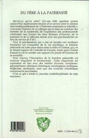 Du Pere A La Paternite - 4ème de couverture - Format classique