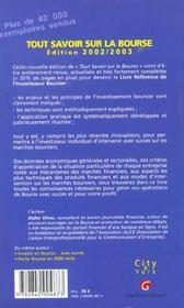 Tout Savoir Sur La Bourse 2002 - 4ème de couverture - Format classique