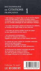 Dictionnaire de citations francaises t1 - 4ème de couverture - Format classique