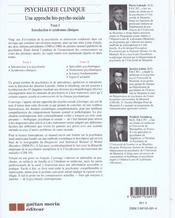 Psychiatrie Clinique T.1 Appr.Bio-Ps - 4ème de couverture - Format classique