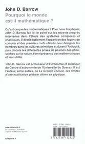 Pourquoi Le Monde Est-Il Mathematique ? - 4ème de couverture - Format classique