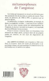 Metamorphoses De L'Angoisse ; Croquis Analytiques - 4ème de couverture - Format classique