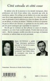 Cote Estrade Et Cote Cour ; Chroniques D'Un College De Banlieue - 4ème de couverture - Format classique