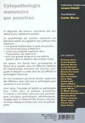 Cythopathologie Des Lesions Du Sein - 4ème de couverture - Format classique