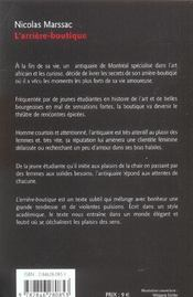 L'Arriere-Boutique - 4ème de couverture - Format classique