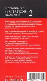 Dictionnaire de citations francaises t2 - 4ème de couverture - Format classique