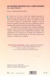 Les Tragedies Grecques Sur La Scene Moderne - 4ème de couverture - Format classique