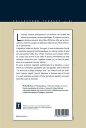 Critique De L'Information Contribution De La Critique Historique - 4ème de couverture - Format classique