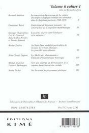 Revue Philosophia Scientiae N.6 ; Biologie Et Cognition - 4ème de couverture - Format classique