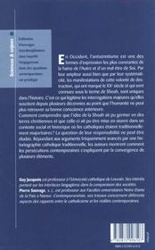 Invention De L'Antisemitisme Racial L'Implication Des Catholiques Francais Et Belges (1850-2000) - 4ème de couverture - Format classique