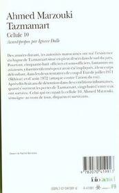 Tazmamart (Cellule 10) - 4ème de couverture - Format classique