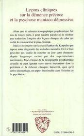 Lecons Cliniques Sur La Demence Precoce Et La Psychose Maniaco-Depressive - 4ème de couverture - Format classique
