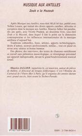 Musique Aux Antilles ; Zouk A La Mazouk - 4ème de couverture - Format classique