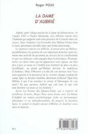 La dame d'aubrie - 4ème de couverture - Format classique