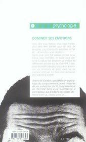 Dominer Ses Emotions - 4ème de couverture - Format classique