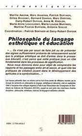 Philosophie Du Langage, Esthetique Et Education - 4ème de couverture - Format classique