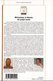 Africanisme Et Theorie Du Projet Social - 4ème de couverture - Format classique