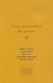 Revue Etats Provisoires Du Poeme T.1 - Couverture - Format classique