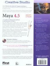 Creative Studio : Maya 4.5 - 4ème de couverture - Format classique