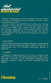 Ile Maurice, Une Societe Multiraciale - 4ème de couverture - Format classique