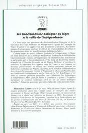 Les Transformations Politiques Au Niger A La Veille De L'Independance - 4ème de couverture - Format classique