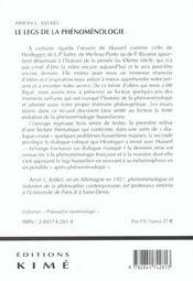 Legs De La Phenomenologie - 4ème de couverture - Format classique