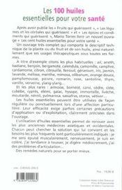 100 Huiles Essentielles Pour Votre Sante - 4ème de couverture - Format classique