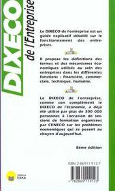 Dixeco de l'entreprise - 4ème de couverture - Format classique