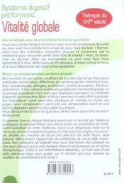 Vitalite Globale - Dr Mayr - Systeme Digestif - 4ème de couverture - Format classique