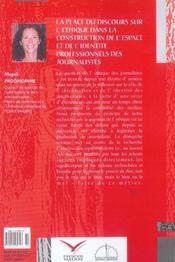 La Place Du Discours Sur L'Ethique Dans La Construction De L'Espace De L'Identite - 4ème de couverture - Format classique