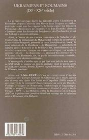 Ukrainiens et roumains IX-XX siècle ; rivalités carpatho-pontiques - 4ème de couverture - Format classique